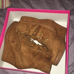 Tan wedge boots just fab size 8.5